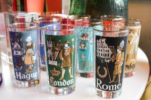 libbey travel glass, vintage barware, vintage travel memorabilia, vintage travel glasses, vintage destination glasses