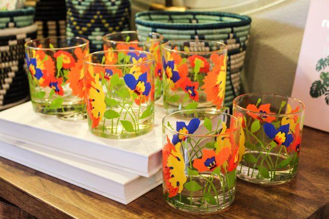 Set of floral glasses