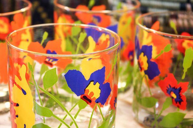 vintage floral, flower lowball glasses, colorful glasses