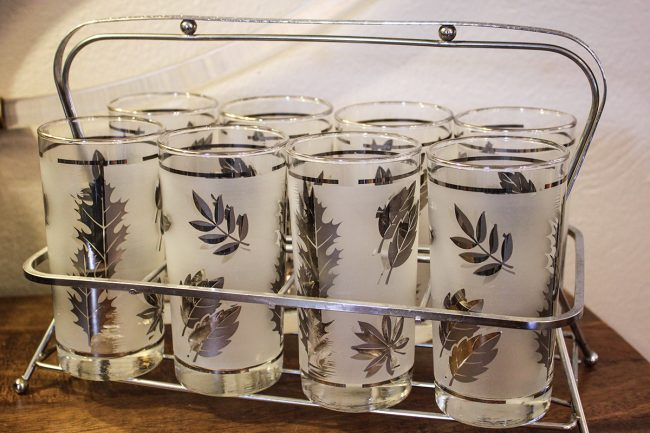 vintage Libbey glasses with carrier