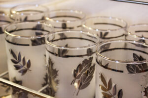Silver foliage glasses, vintage glasses, vintage libbey glasses