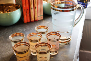 Pitcher set with shot glasses