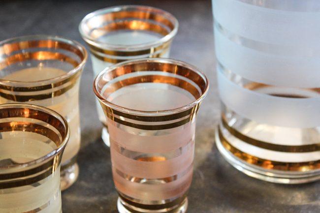 vintage pitcher, pitcher with shot glasses, vintage glass, pastel vintage