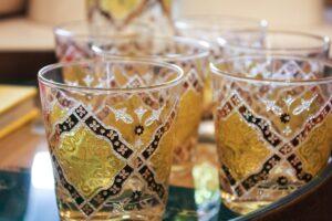vintage pasinski bar set, vintage bar set, vintage old fashioned glasses, green gold glasses, pasinski bar set