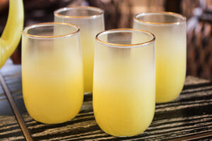 vintage Blendo set, Blendo glassware, yellow glassware,vintage barware, vintage yellow