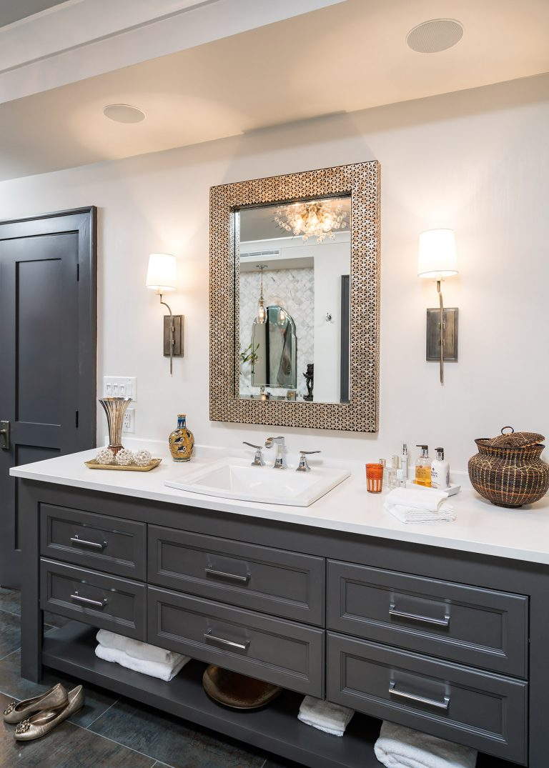 master bath vanity with scones