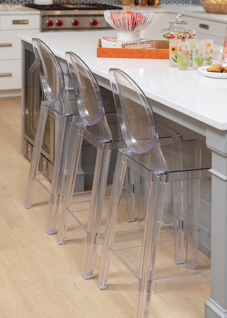 Acrylic Bar and Counter Stools for a White and Blue Scandinavian Kitchen