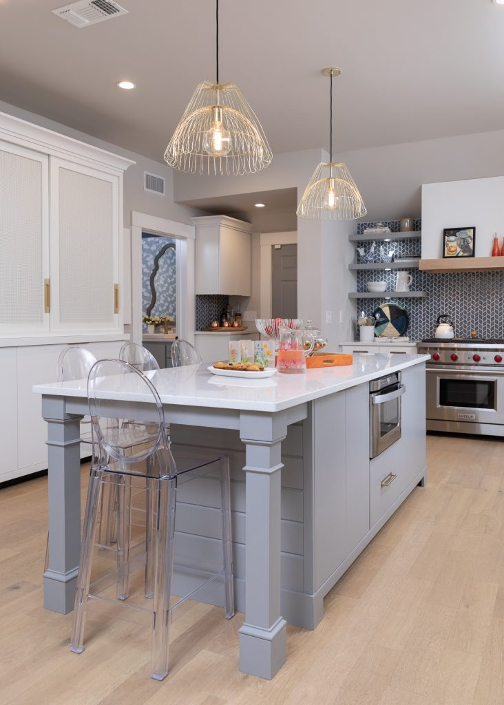 White, Blue and Grey Scandinavian Kitchen - Interior Design - Kitchen Remodel -