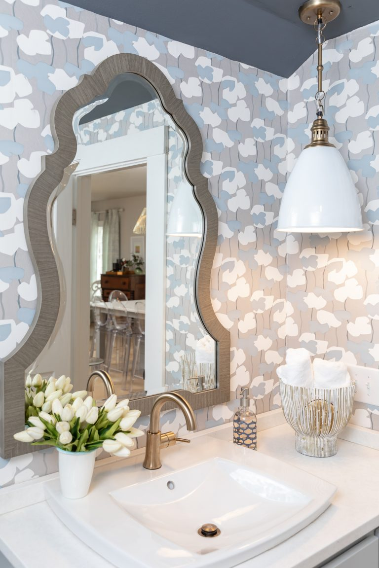Blue and White wallpaper with silver mirror - vanity - bathroom remodel