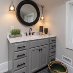 Grey Bathroom Vanity Scandinavian Cottage Design - Bathroom Remodel - Penny tile - Sconce - Mirror