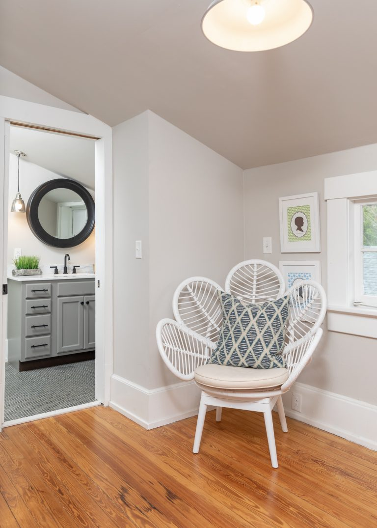 Reading Nook with white accent chair