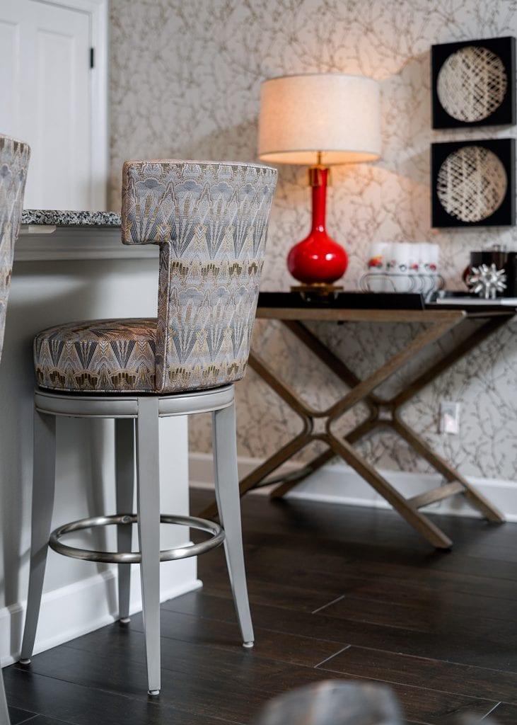 bar stools and red lamp