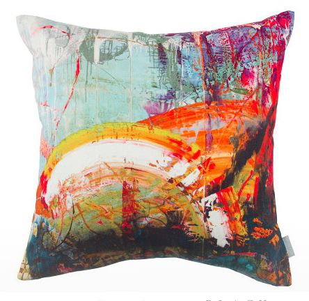 multicolored decorative pillow, decorative pillow, summer inspired, 20in x 20in pillow