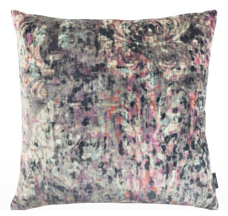 custom velvet pink and gray pillow