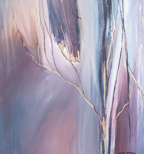 twilight woods, canvas painting, 24x24 painting, original artwork