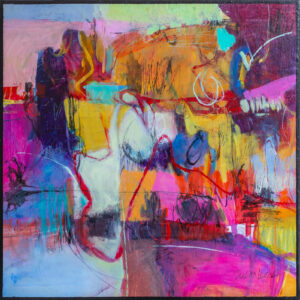 colorful cities in italy, pensacola artist, cityscape painting, colorful abstract painting, 24x24 painting
