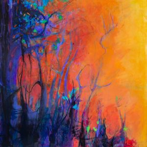canvas painting, pensacola artist, bright painting, fiery sky