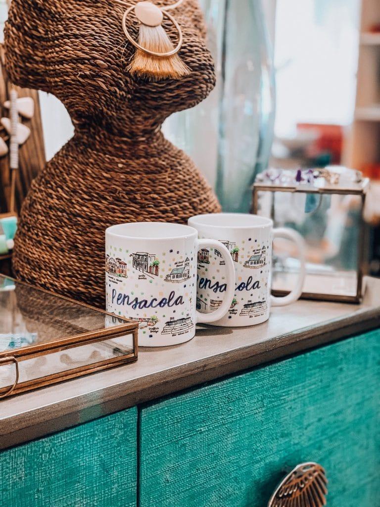 painted coffee mugs, pensacola florida coffee mug, pensacola florida landmarks, history of pensacola florida, city specific coffee mugs