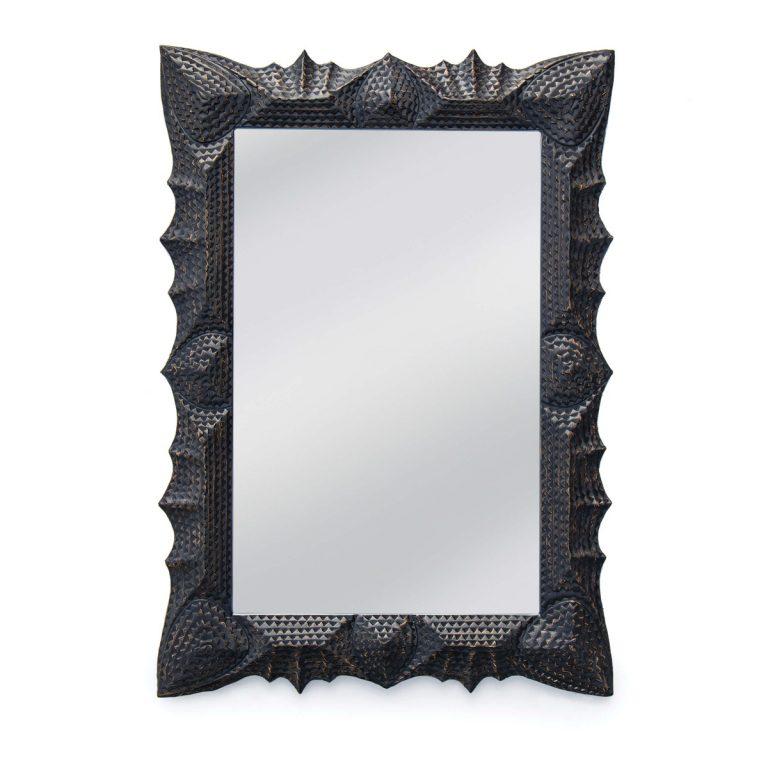 black resin wall mirror; ebony resin mirror; black geometric mirror; tramp art mirror; bold black mirror