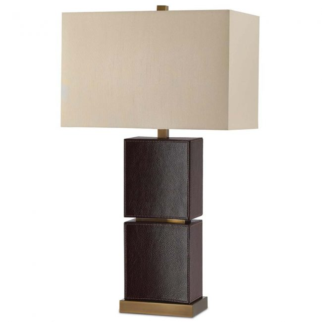 leather and brass lamp; dark brown leather lamp; leather and antique brass lamp; lamp with fabric shade