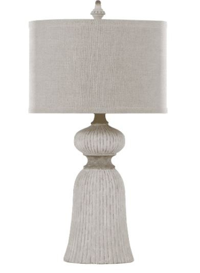white table lamp; concrete table lamp; lamp with fabric shade