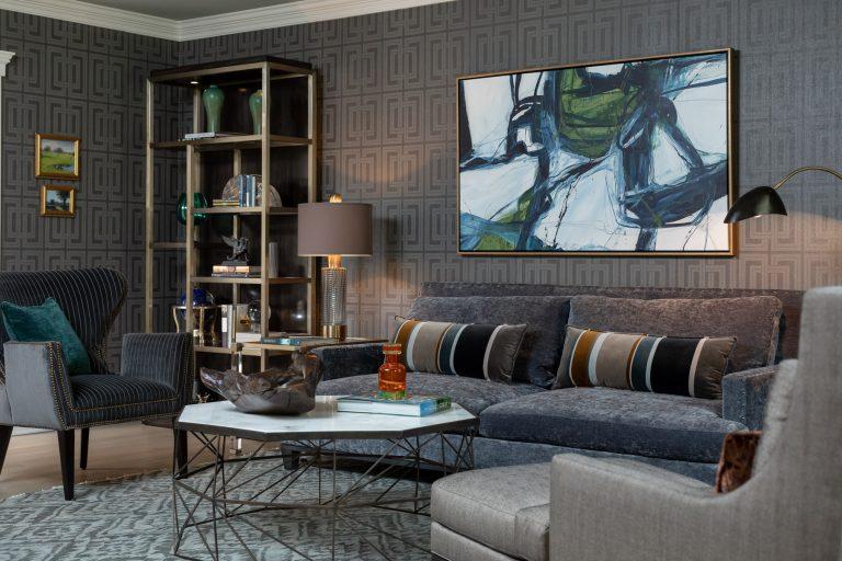 Colonial Living Room Makeover, New Jersey - Grasscloth wallpaper, teal curtains, velvet sofa, original art and dark furniture