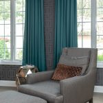 Colonial Living Room Makeover, New Jersey - Grasscloth wallpaper, teal curtains, silver side table and grey accent chair