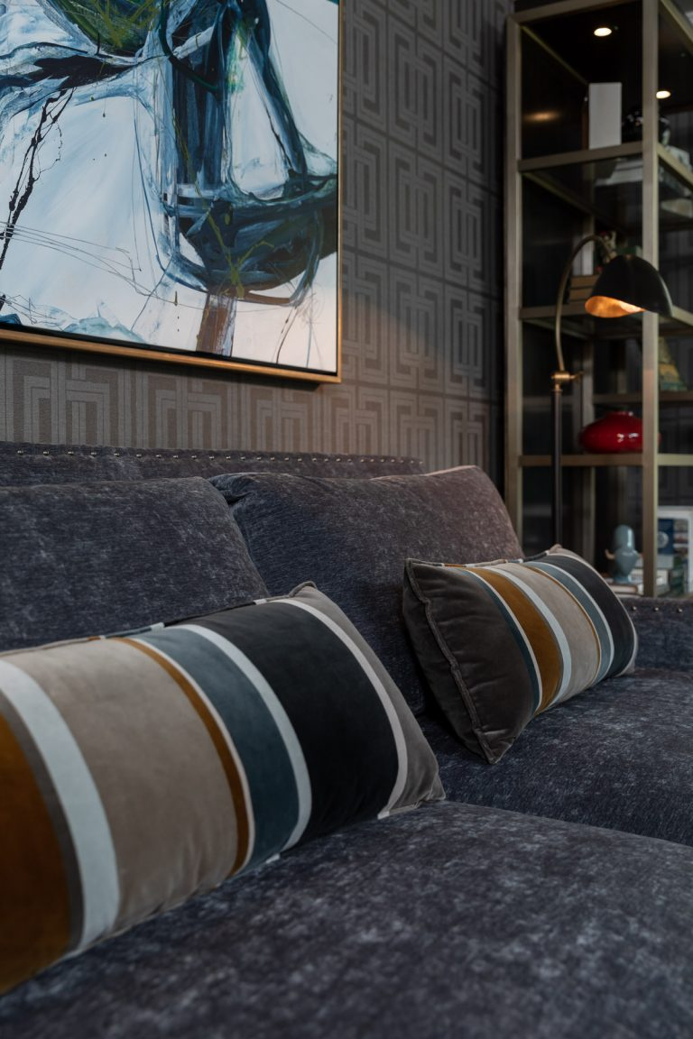 Colonial Living Room Makeover, New Jersey - Grasscloth wallpaper, original art, dark furniture, velvet sofa, multicolored throw pillows