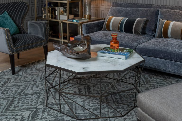 Colonial Living Room Makeover, New Jersey - Stone top coffee table, accent rug and home decor