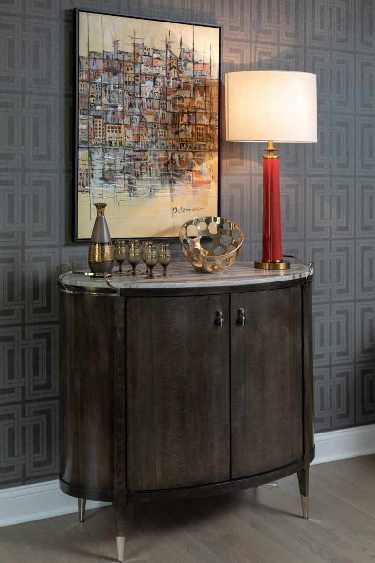 Colonial Living Room Makeover, New Jersey - Grasscloth wallpaper, original art, dark furniture and red lamp
