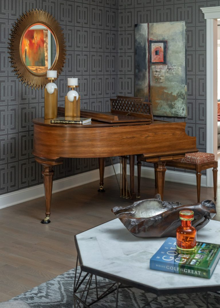 Colonial Living Room Makeover, New Jersey - Grasscloth wallpaper, original art, dark furniture, coffee table and gold mirror