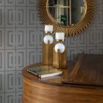 Colonial Living Room Makeover, New Jersey - Grasscloth wallpaper, original art, dark furniture and gold mirror