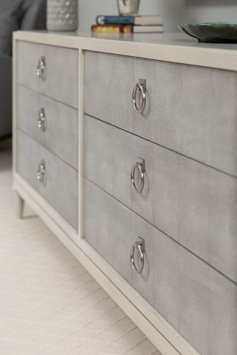 White and Grey Dresser for neutral master bedroom