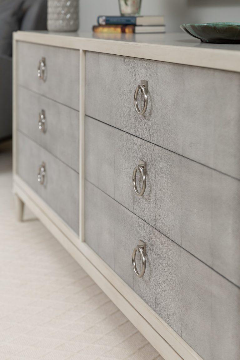 White and Grey Dresser for neutral master bedroom
