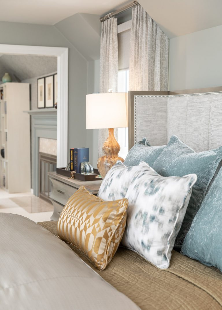 Light and Airy Master Bedroom suite with sitting area, Neutral Colors, Grey, Blue and Yellow