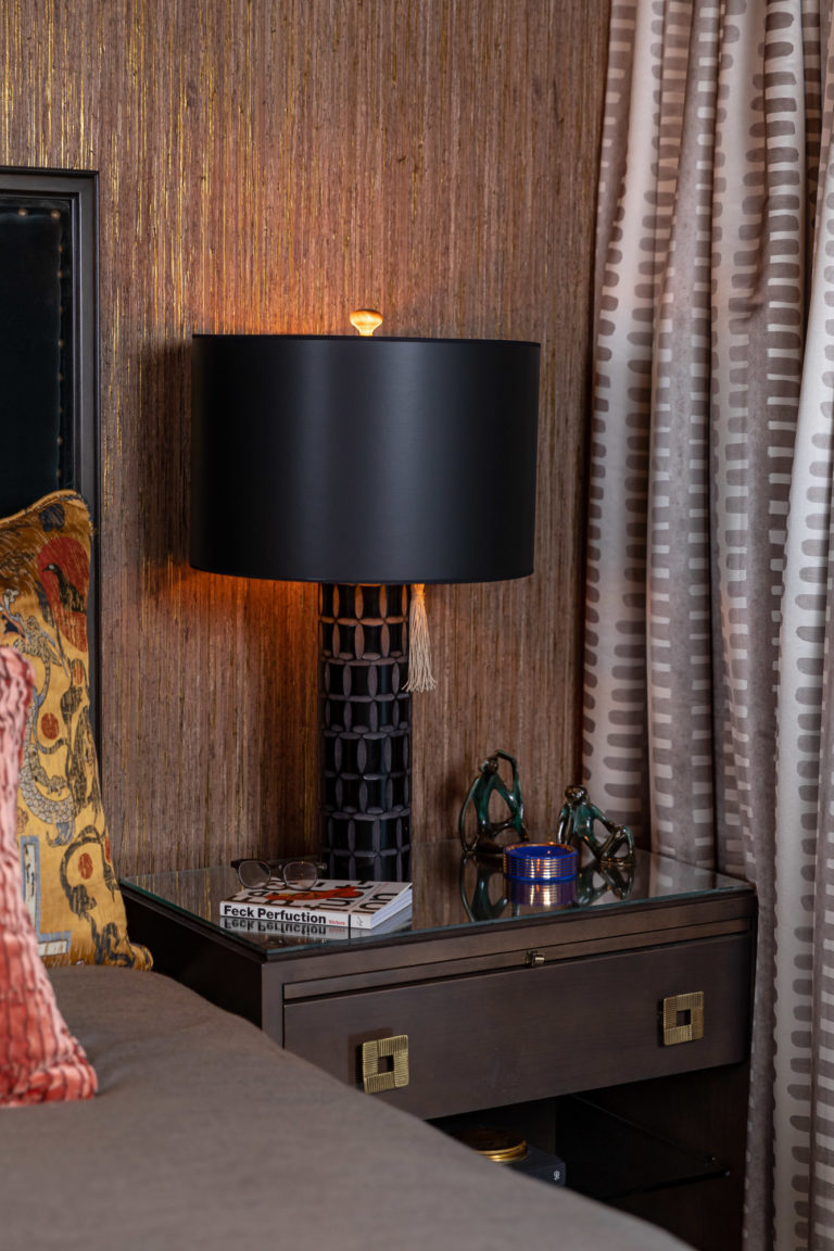 Master Bedroom Suite, Velvet Headboard, Velvet Pillow, Master Bedroom Ideas, Moody Bedroom, Sexy Bedroom , Black Lamp, Brown Wooden Nightstand with brass hardware
