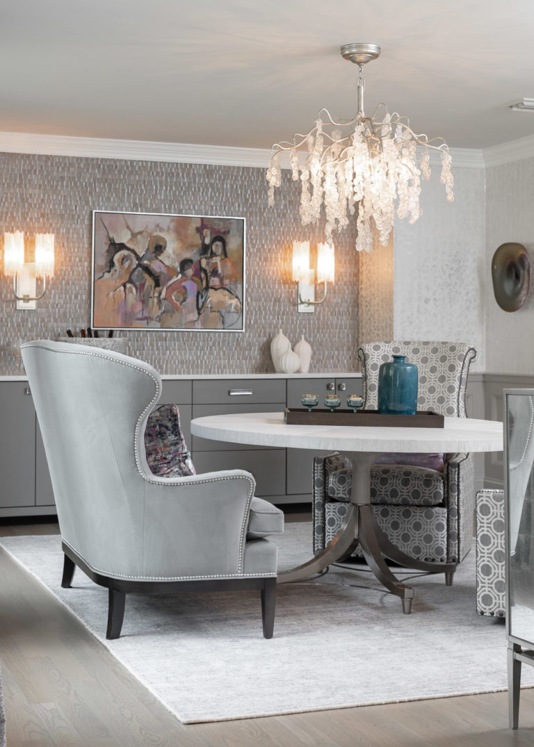 colonial dining room remodel, rodeo by benjamin moore, grey dining room, dining room ideas, new jersey home, grey accent chair, grey accent bench, original art, glam chandelier, organic chandelier