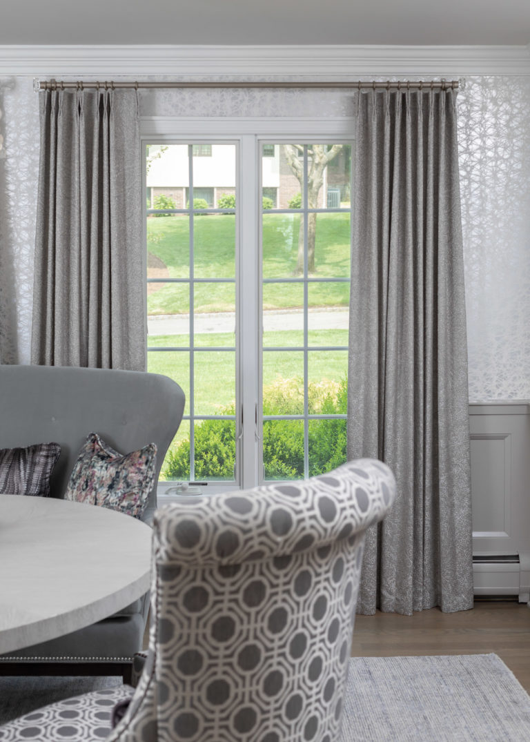 colonial dining room remodel, rodeo by benjamin moore, grey dining room, dining room ideas, new jersey home, grey accent chair, grey accent bench, original art, grey window treatments, grey curtains