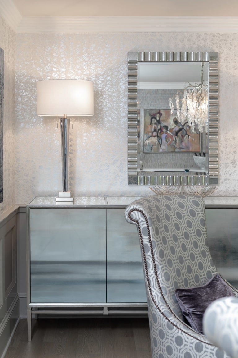 colonial dining room remodel, rodeo by benjamin moore, grey dining room, dining room ideas, new jersey home, grey accent chair, grey accent bench, original art, glam lamp, silver table lamp, accent chest
