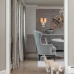colonial dining room remodel, rodeo by benjamin moore, grey dining room, dining room ideas, new jersey home, grey accent chair, grey accent bench