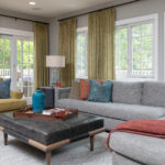 Family Room Remodel, Family Room idea, leather ottoman, citron accent chair, grey sectional