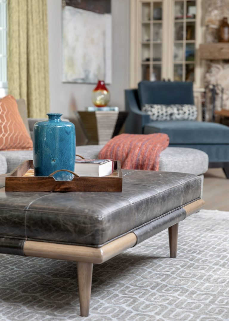 Family Room Remodel, Family Room idea, leather ottoman, blue velvet accent chair, grey sectional