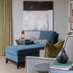 Family Room Remodel, Family Room idea, blue velvet accent chair, grey sectional