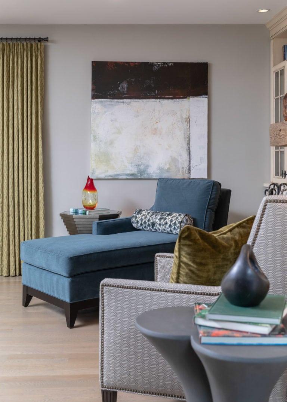 Family Room Remodel, Family Room idea, blue velvet accent chair, grey sectional
