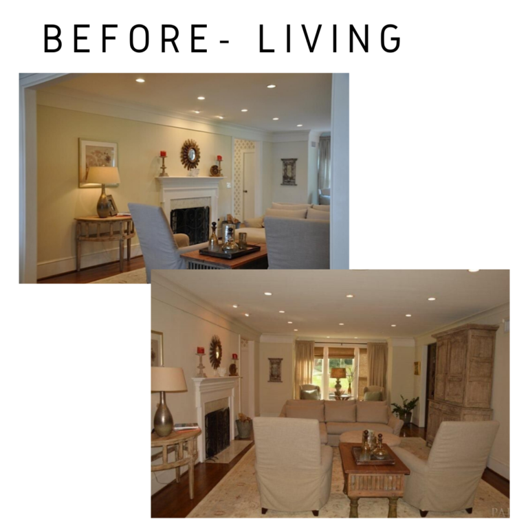 Before and After Living Room Remodel pensacola florida in detail interiors