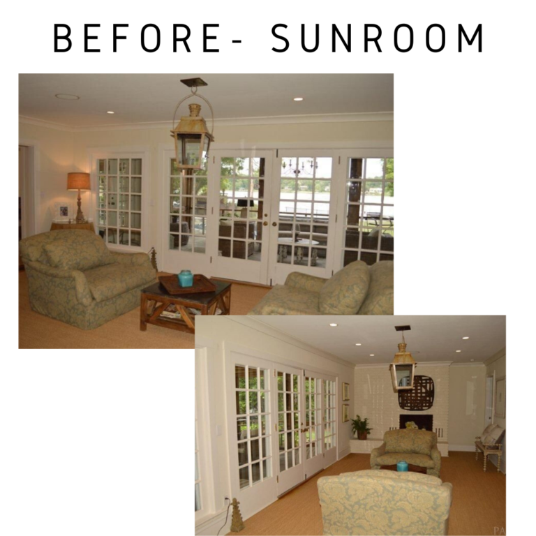 before and after coastal sunroom remodel, Pensacola, florida in detail interiors