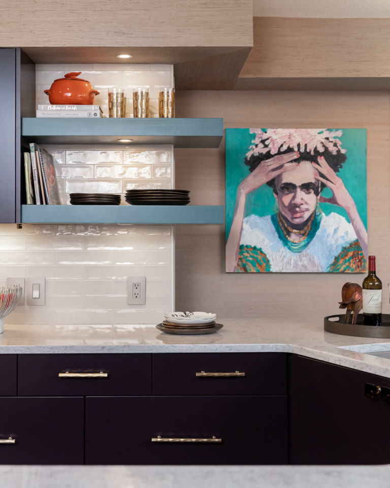 kitchen remodel pensacola beach florida, purple base cabinets, blue floating shelves, white tile backsplash, nancy rhodes harper art
