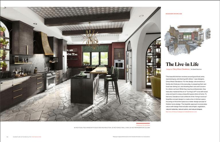 green kitchen, biophilia, modern design, moody, stone flooring, dark brown cabinets