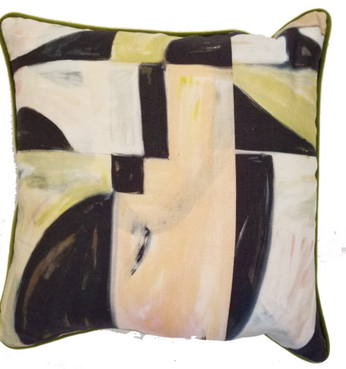 green peach black abstract throw pillow in detail interiors