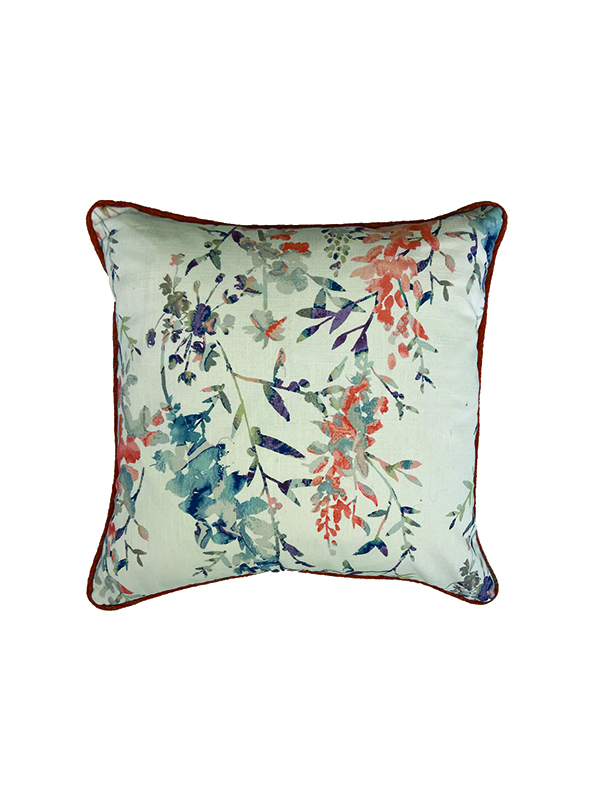 Coral Floral throw pillow in detail interiors